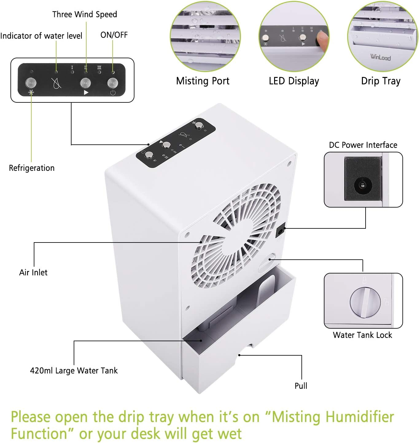Espacio Personal Enfriador de Aire Humidificador Purificador Climatizador Evaporativo Mini para Casa y Oficina 3 Velocidades Winload 3 En 1 Enfriador Aire Portatil Aire Acondicionado M/óvil