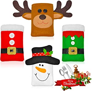 Christmas Silverware Holders, Xmas Party Dinner Table Dinnerware Decorations Supplies,Cutlery Holder Tableware Bag Storage Covers Christmas Decor Set of 4