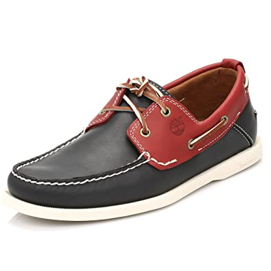 Timberland Heritage 2 Eye Boat Chaussures Bateau Homme Cuir Bleu