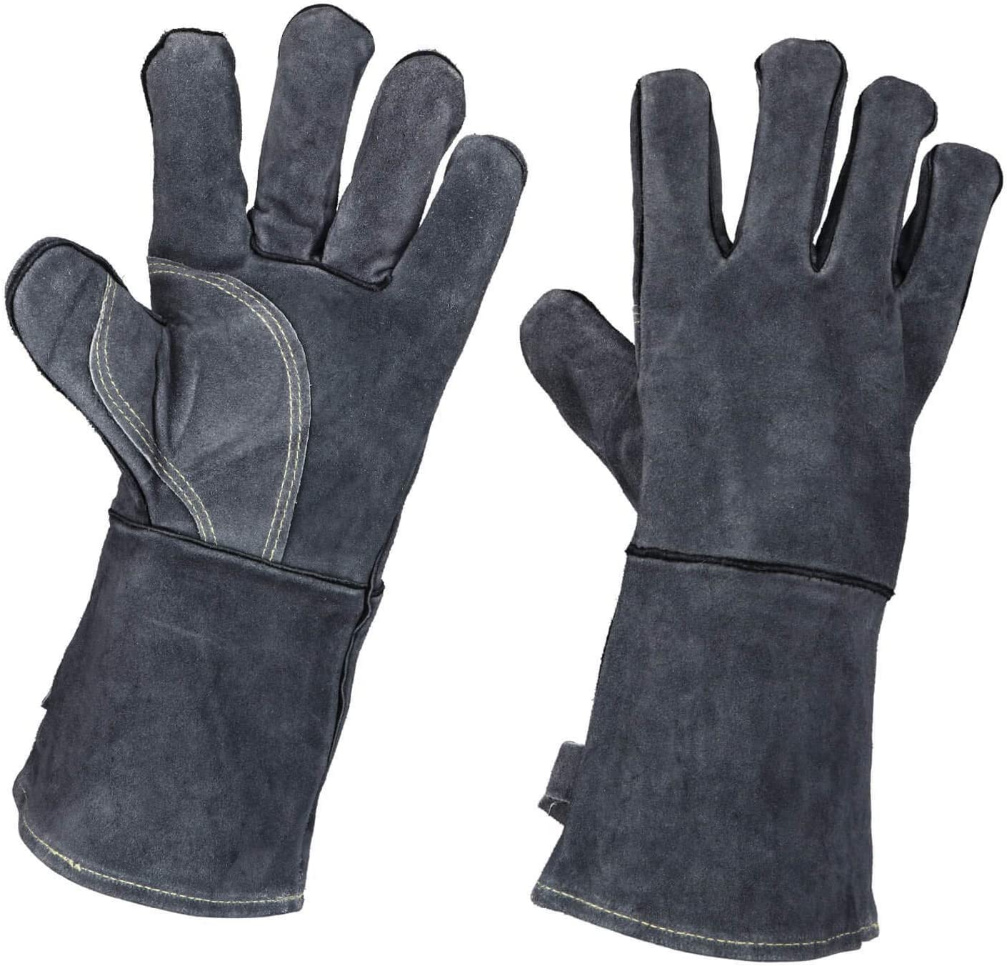 OZERO 932°F Heat Resistant Forge Welding Gloves Leather Grill BBQ Glove with Flame Retardant Long Sleeve for Men and Women Gray 14-inch