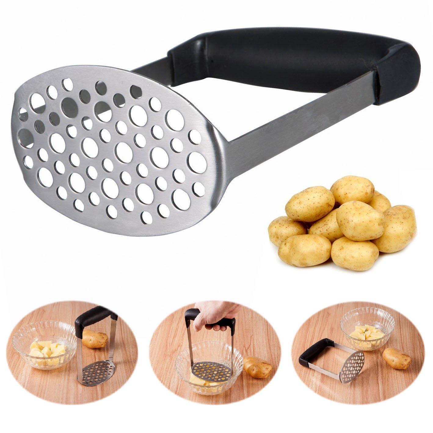 Itian Stainless Steel Potato Masher Potato Press Designed for Delicate Potato Mud