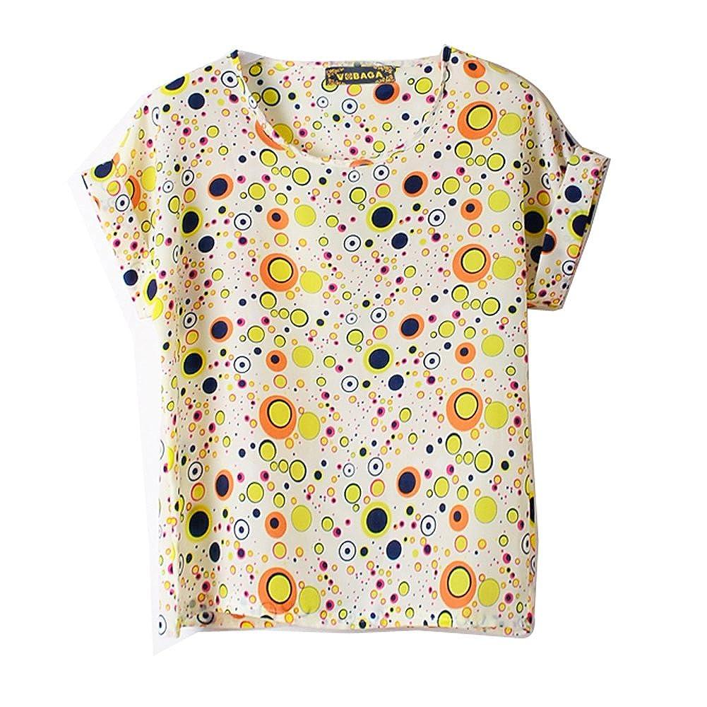 VOBAGA Women's Bird Heart Geometric Print Short Sleeve Chiffon Top T-shirt Blouses WS1015-1-S-$P