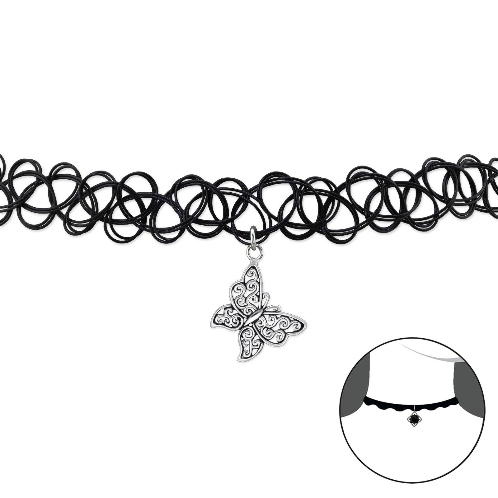 Atik Jewelry Silver Butterfly Choker