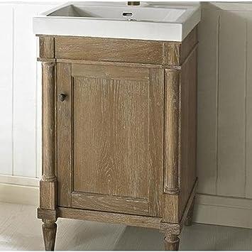 verlyn sink vessel console cabinet distressed tan vanity mahogany bathroom