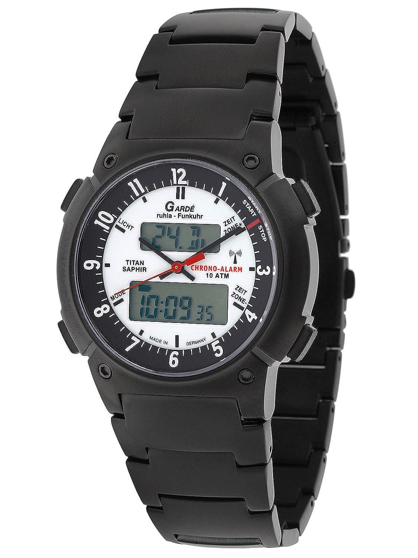 Funkuhr Garde FU-Business-Alarm 19-16AM - Titan - Saphir - Alarm - Chrono