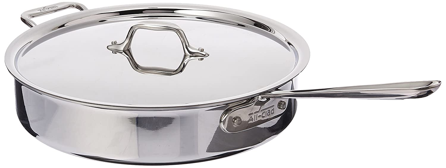 All-Clad 4405 Stainless Steel Tri-ply Saute Pan with Lid Cookware, 5-Quart, Silver by All-Clad: Amazon.es: Hogar