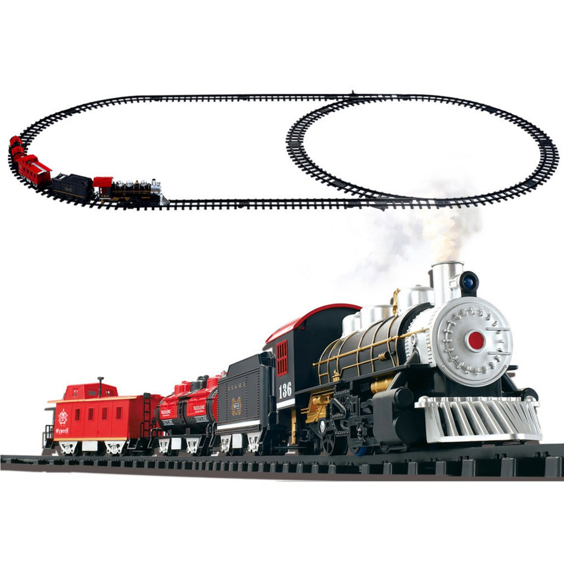vrchil Big Train Set Toy for Boys, Kids Classical Train with Steam Smoking Simulation Sound Play Train, Best Gift for Children