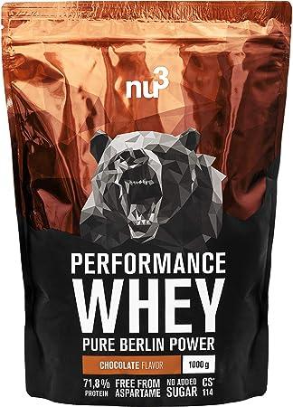 nu3 Whey Protein - Batido proteico sabor chocolate - 1 kg de suero en polvo con 71.8% de proteína - Aminoácidos BCAAs + proteína aislada isolate - ...