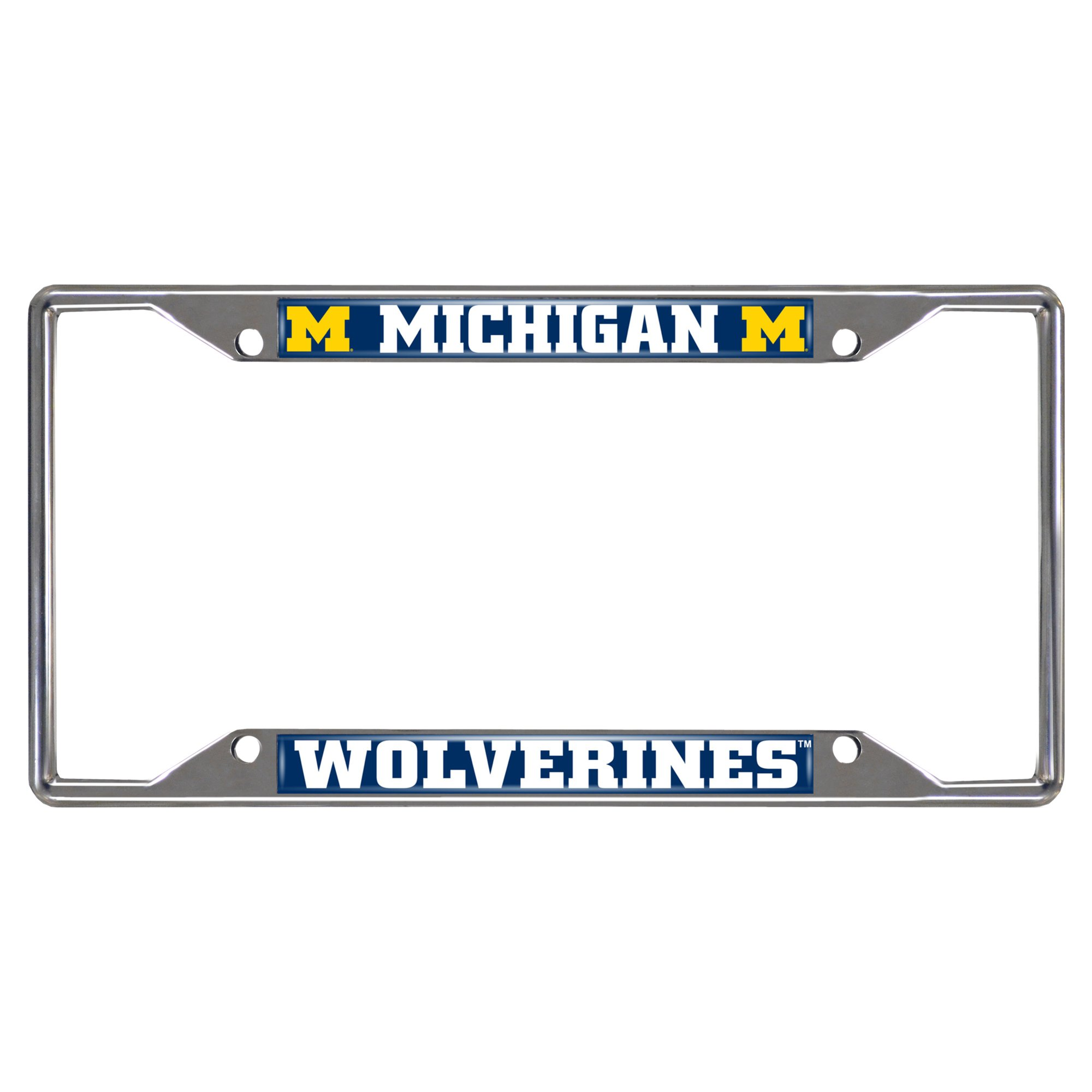 Fanmats 14823 NCAA University of Michigan Wolverines Chrome License Plate Frame, 6.25''x12.25''
