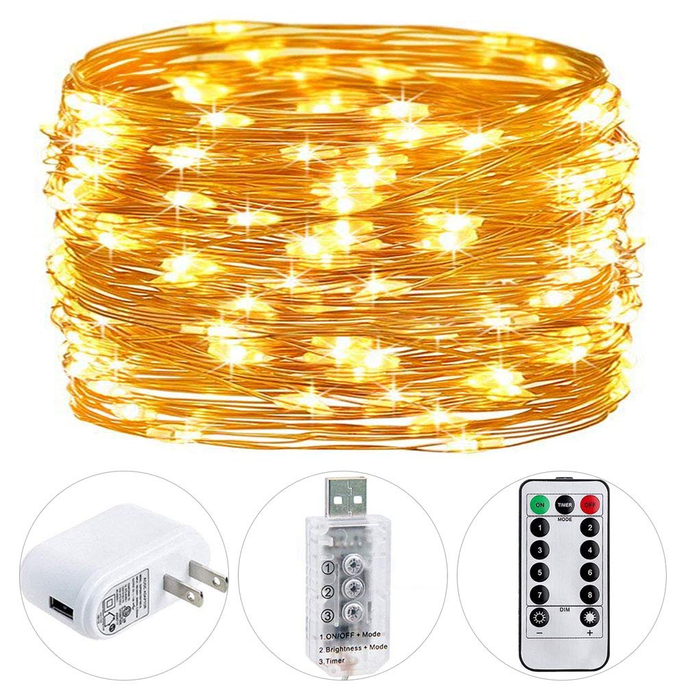 HSicily 49ft 150 LED Fairy Lights Plug in, USB String Lights 8 Modes Twinkle Lights with Adapter Remote Timer,Warm White Waterproof Decorative Lights for Halloween Bedroom Patio Wedding Dorm Indoor