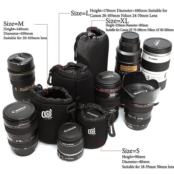 BOLSA PEQUEÑA DE LENTE LIGHTDOW BOLSA DE NEOPRENO GRUESO DE 5 MM para Canon 50 mm F1.8 EF-S 18-55 mm f / 3.5-5.6 IS II Yongnuo YN 50 mm F / 1.8 Etc (Tamaño = S)