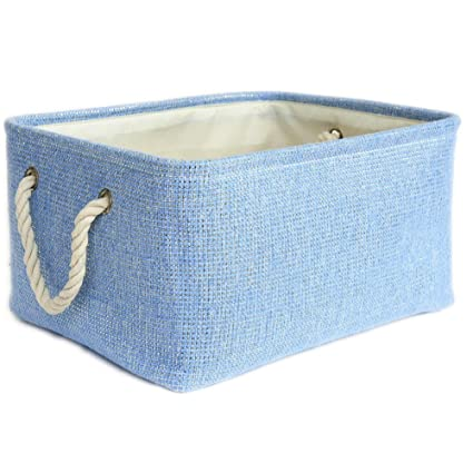 Superieur TheWarmHome Large Blue Basket Rectangular Lined Storage Basket For Baby Toy  Basket Decorative Fabric Bin Toy