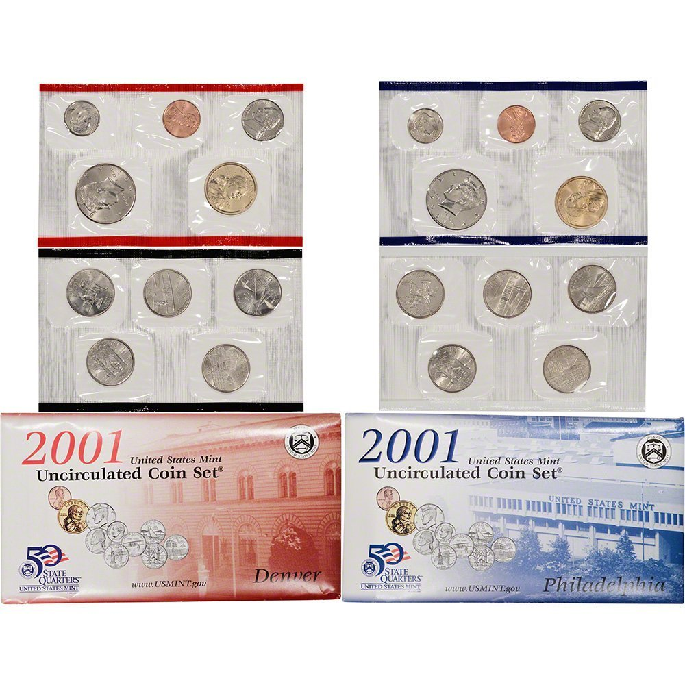 2001-P+D  ONE UNCIRCULATED 20 COIN MINT SET NICE PACKAGING TEN STATE QUARTERS