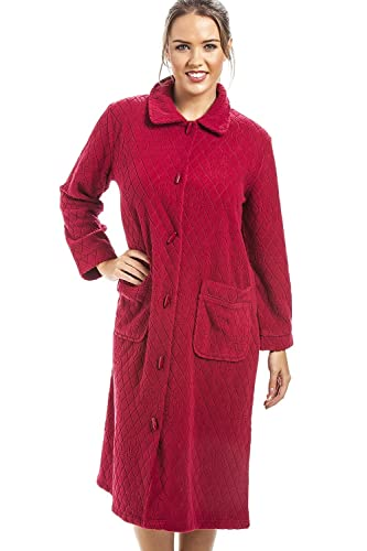Camille - Vestaglia donna in pile Jacquard con bottoni frontali e motivo floreale - Rosso
