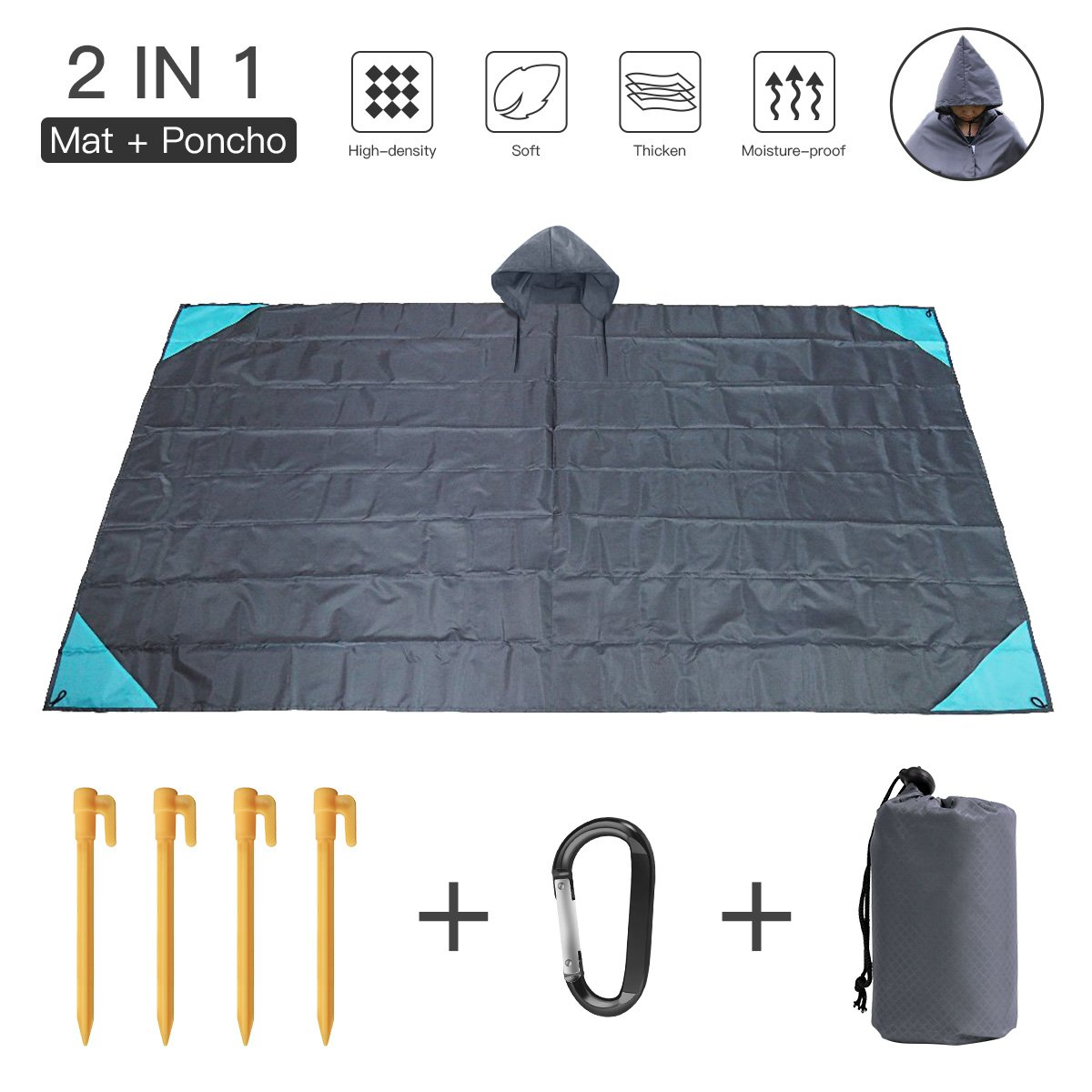 Pocket Beach Blanket Oversized Picnic Blanket 55x79 Inch, Water Resistant Sand Free Nylon Outdoor Blankets, Lightweight Portable Picnic Mat with 4 Stakes, Carabiner (Gray) by Cenfenner