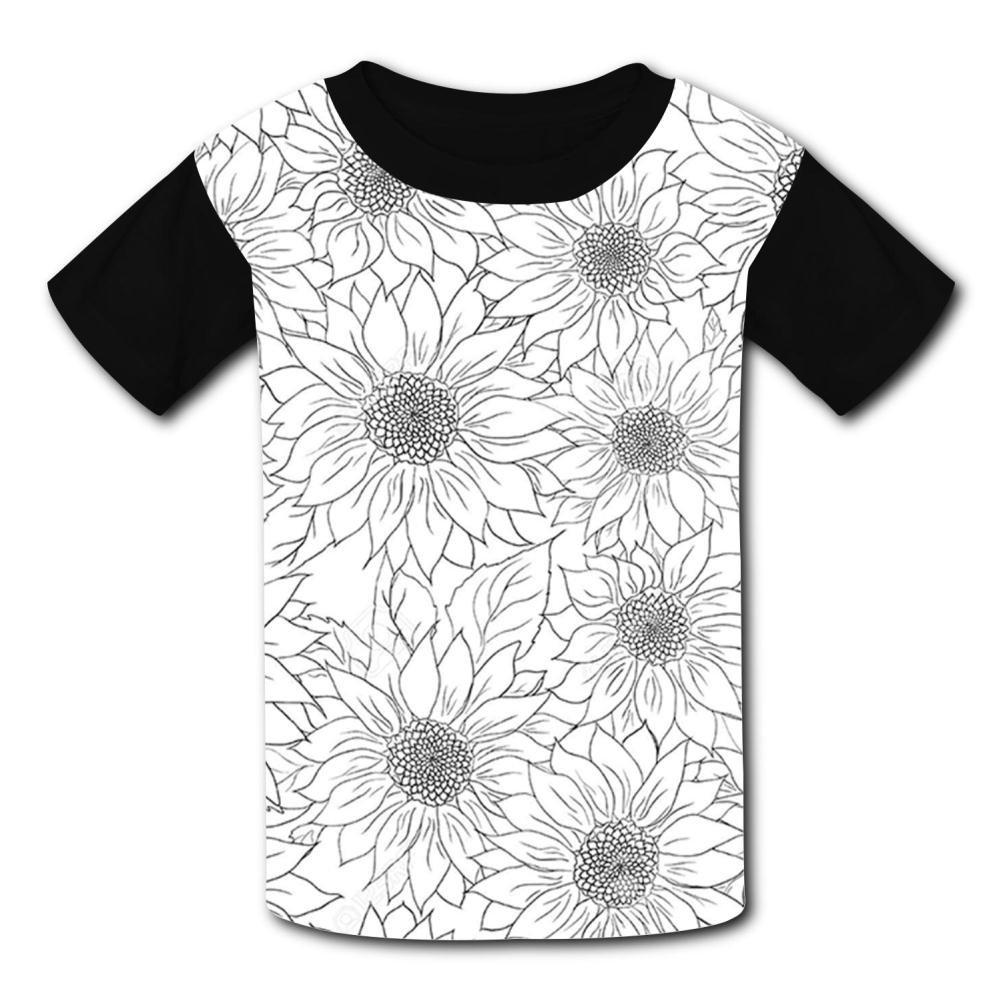 MY-Fish Black Raglan T-Shirts Short Sleeve Sunflower Sports Sweat Tee for Kids Boys Girls