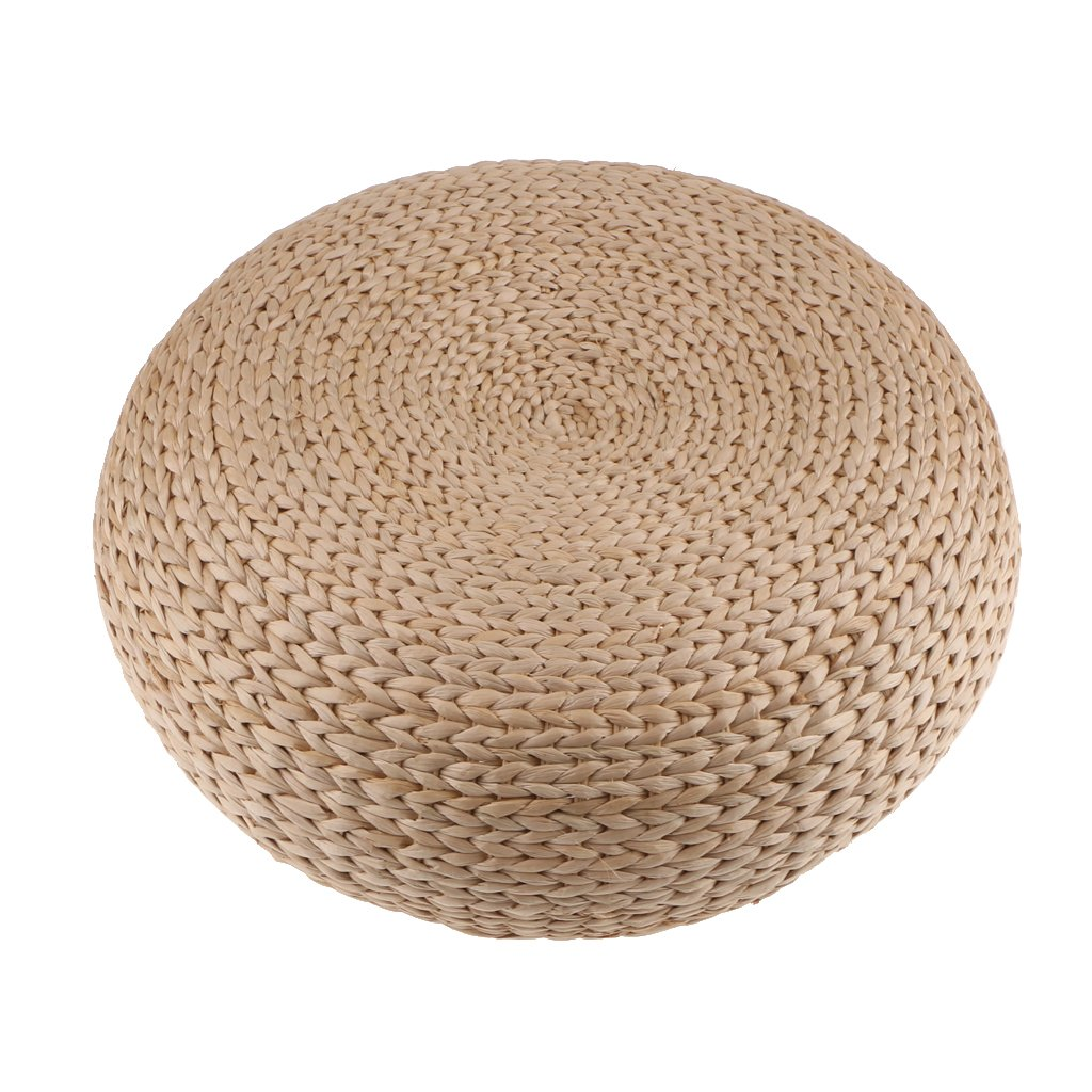 MonkeyJack Handcrafted Eco-friendly Straw Woven Dia. 40cm Seat Pouf Yoga Meditation Mat