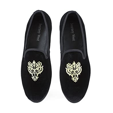 701c48ca936 Men s Vintage Velvet Embroidery Noble Loafer Men Shoes Slip-on Loafer  Smoking Slipper US 7