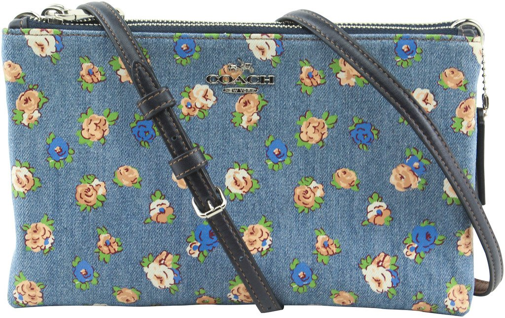 Coach Women's Lyla Floral Printed Denim Leather Double Zip Crossbody Bag, Style F57549, SV Denim Multi