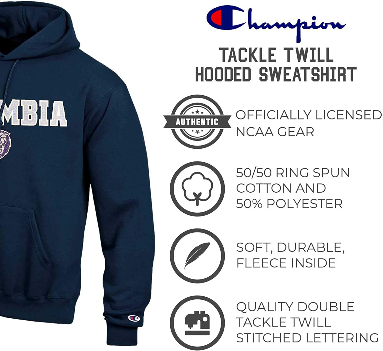 Officially Licensed Unisex NCAA Team Apparel Champion Adult Tackle Twill Hooded Sweatshirt