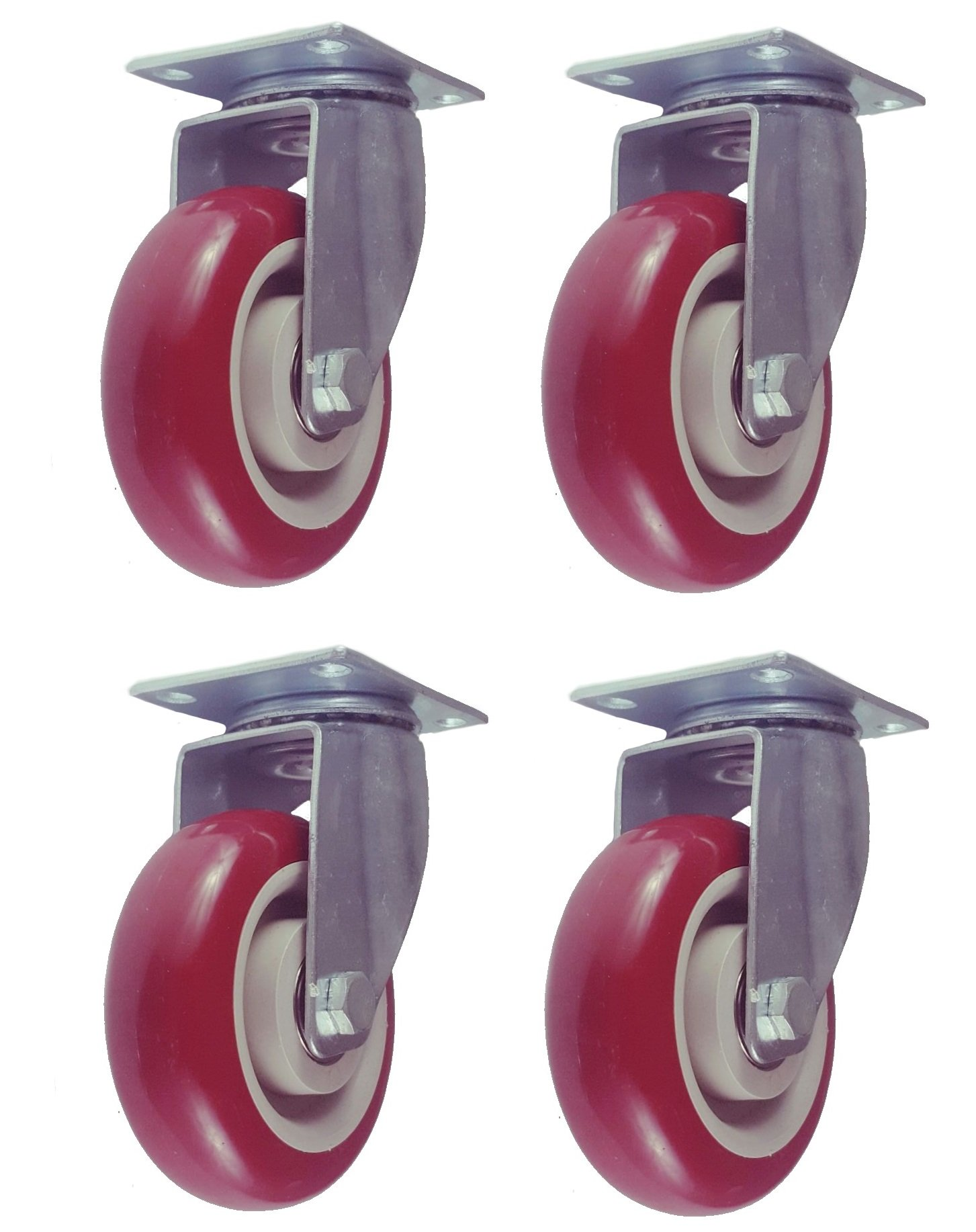 Online Best Service 4 Pack Caster Wheels Swivel Plate Casters On Red Polyurethane Wheels (4 inch Plate)