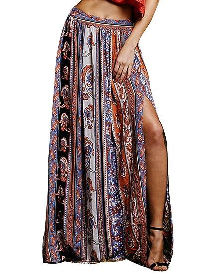 3cedb4019f Womens Gypsy Boho Tribal Floral Casual Maxi Beach Skirt Dress at Amazon  Women s Clothing store