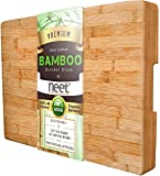 """LARGE Bamboo Butcher Chopping Block By Neet - Ultra Thick Heavy & Solid Cutting Board (16.5""""x 12"""" x 2"""" Inch) Organic Anti-Bacterial Great For Wooden Serving Trays & Cheese Platters w/Handles"""