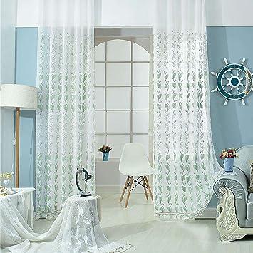 Wunderbar Masterein 1PC Wavy Blätter Bestickte Voile Fenster Vorhang Panel Für Wohnzimmer  Schiebetür Glas
