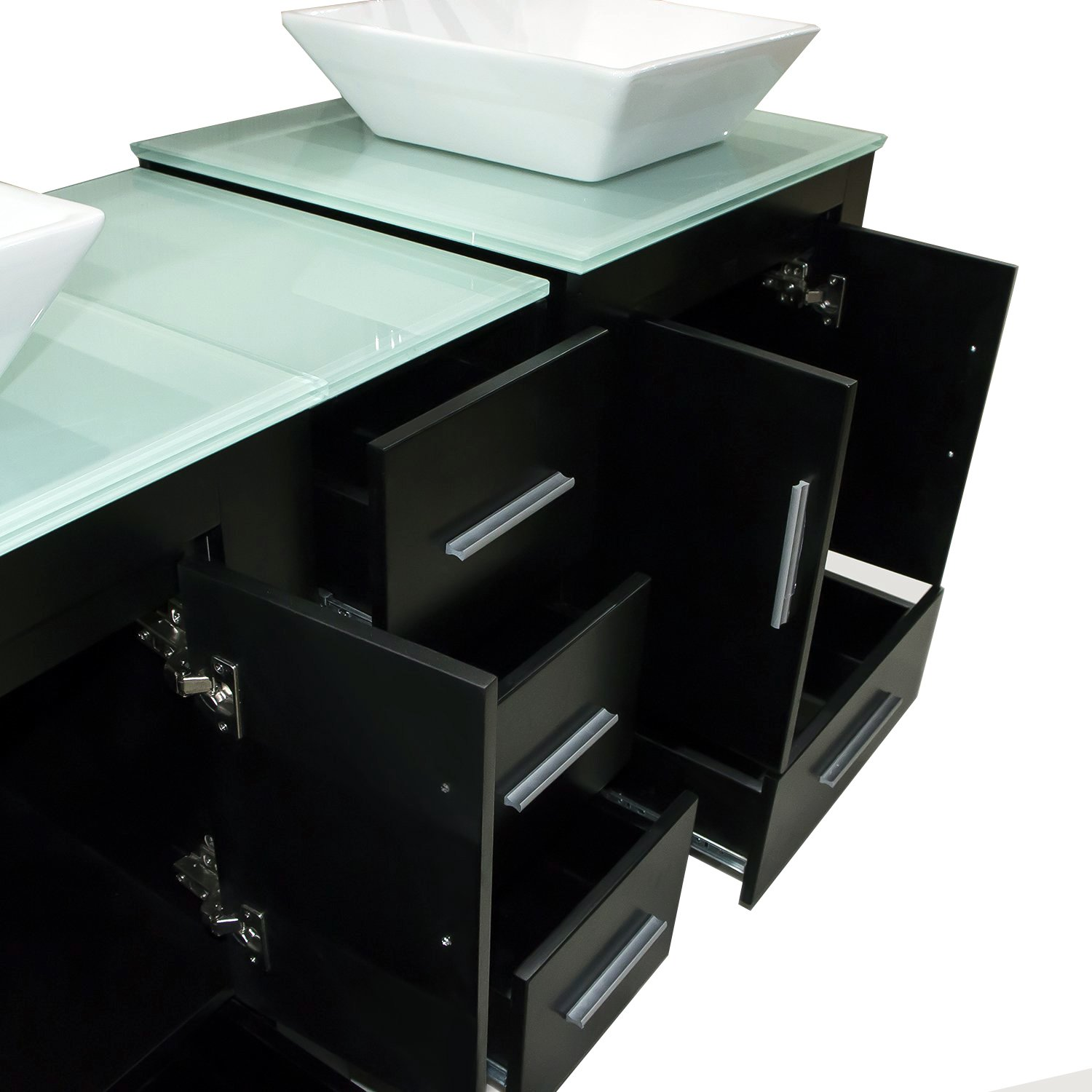 Walcut Luxury 60'' Modern Double Ceramic Sink Solid Wood Bathroom Vanity Cabinet With Mirror And Tempered Glass Table Board by WALCUT (Image #3)