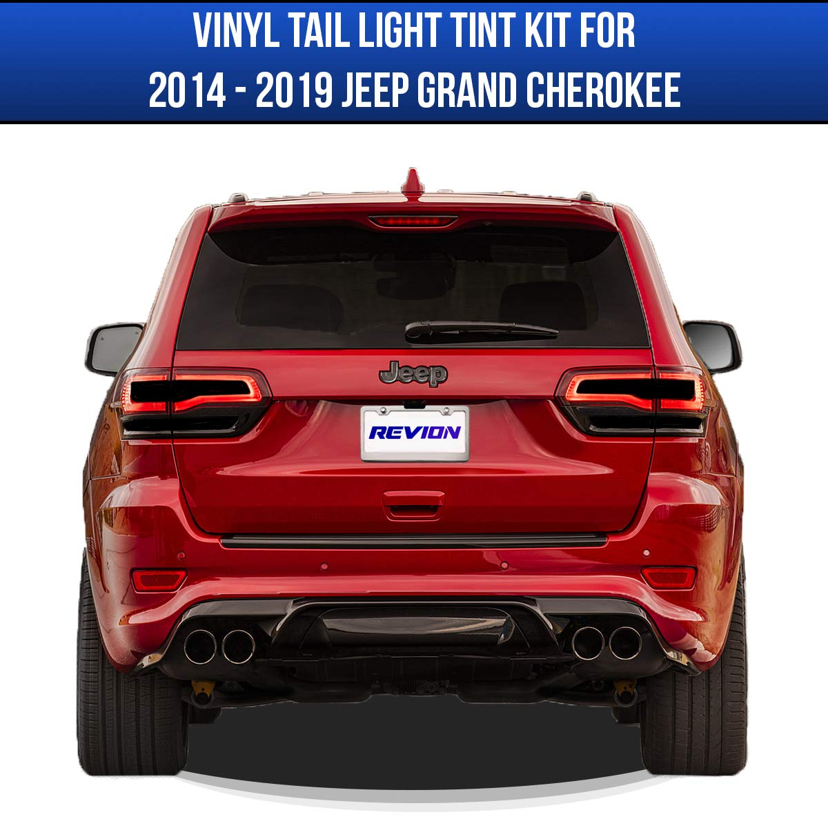Accessories REVION Autoworks 2014-2019 Jeep Grand Cherokee Tail Light Tint Kit Taillight Overlay Covers Compatible with 14-19 Jeep Grand Cherokee