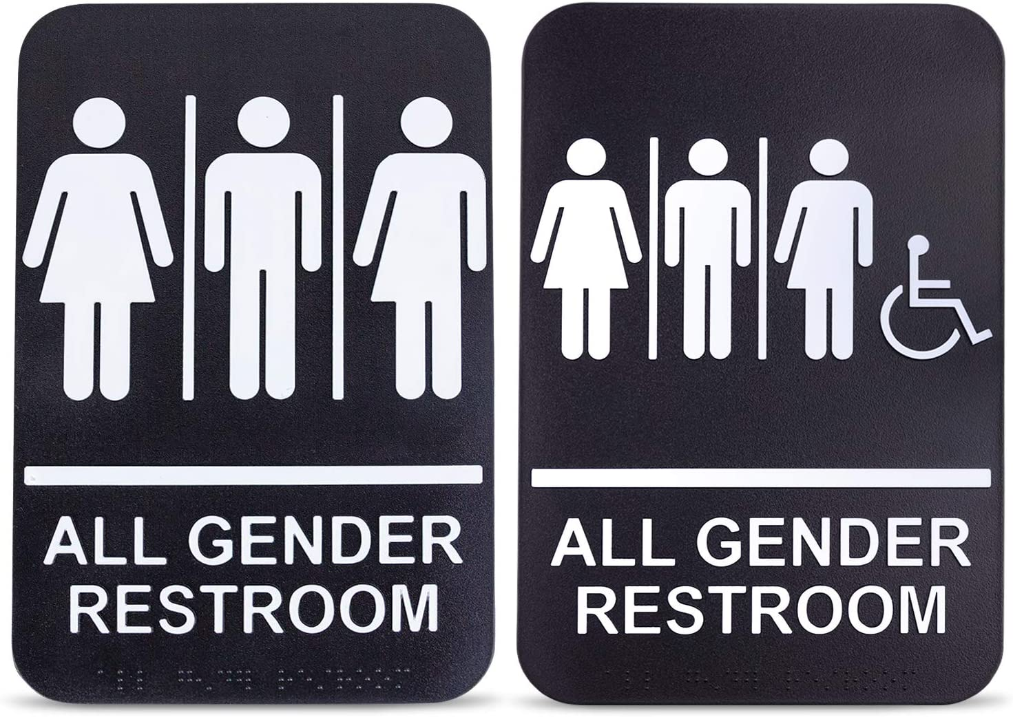 [2 Pack] All Gender Bathroom Signs for Business and Unisex Restroom Sign with Handicap - 6 x 9 Inch Braille Black White ADA Compliant Adhesive Toilet Signages for Offices Door and Restaurants DŽcor