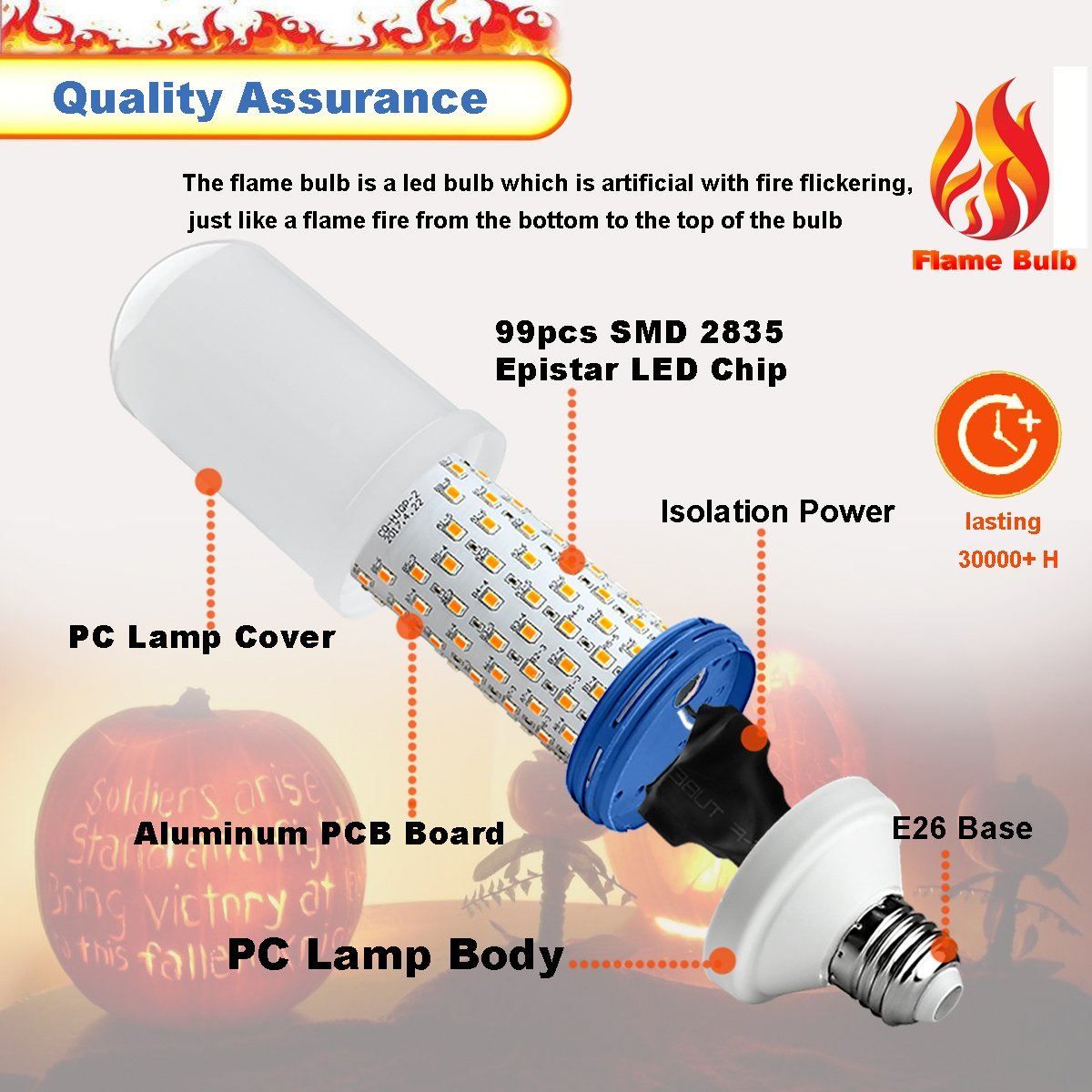 LED Flame Effect Light Bulb E26 Medium Base 3 Modes