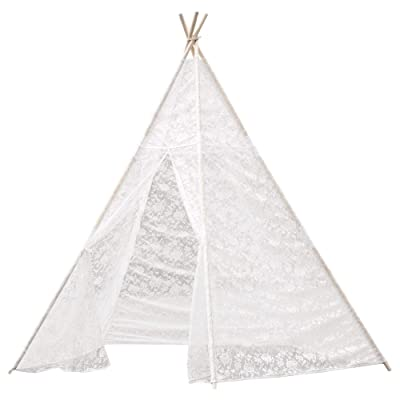 Samincom 7.16 Feet Tall 5-Poles Huge Teepee Luxury Lace Tent for Wedding, Party, Photo Prop Lace Canopy for Indoor & Outdoor Use: Toys & Games