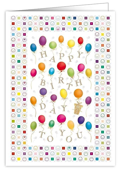 Quire Mac - Tarjeta de felicitación de cumpleaños (tamaño extra grande), diseño de globos de cumpleaños, color dorado y plateado