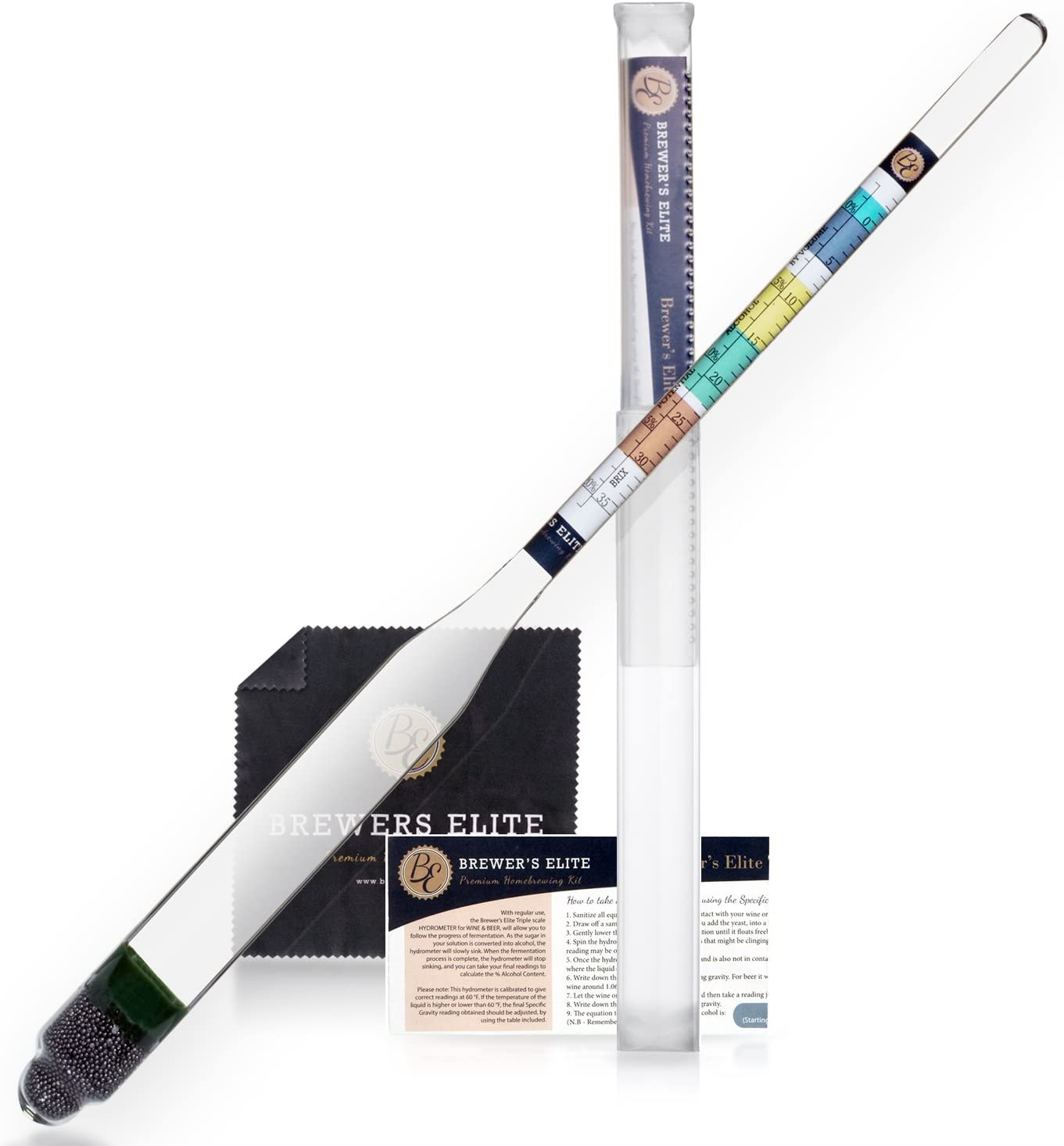 Brewer's Elite Hydrometer - for Home Brew Beer, Wine, Mead and Kombucha - Deluxe Triple Scale Set, Hardcase and Cloth - Specific Gravity ABV Tester
