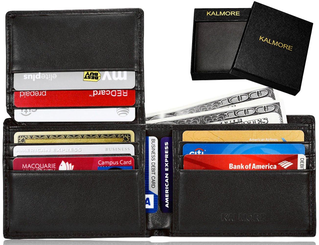 KALMORE Men's RFID Blocking Flip-ID Window Travel Bifold Genuine Leather Wallet - in Gift Box (Full-Grain Leather Black)