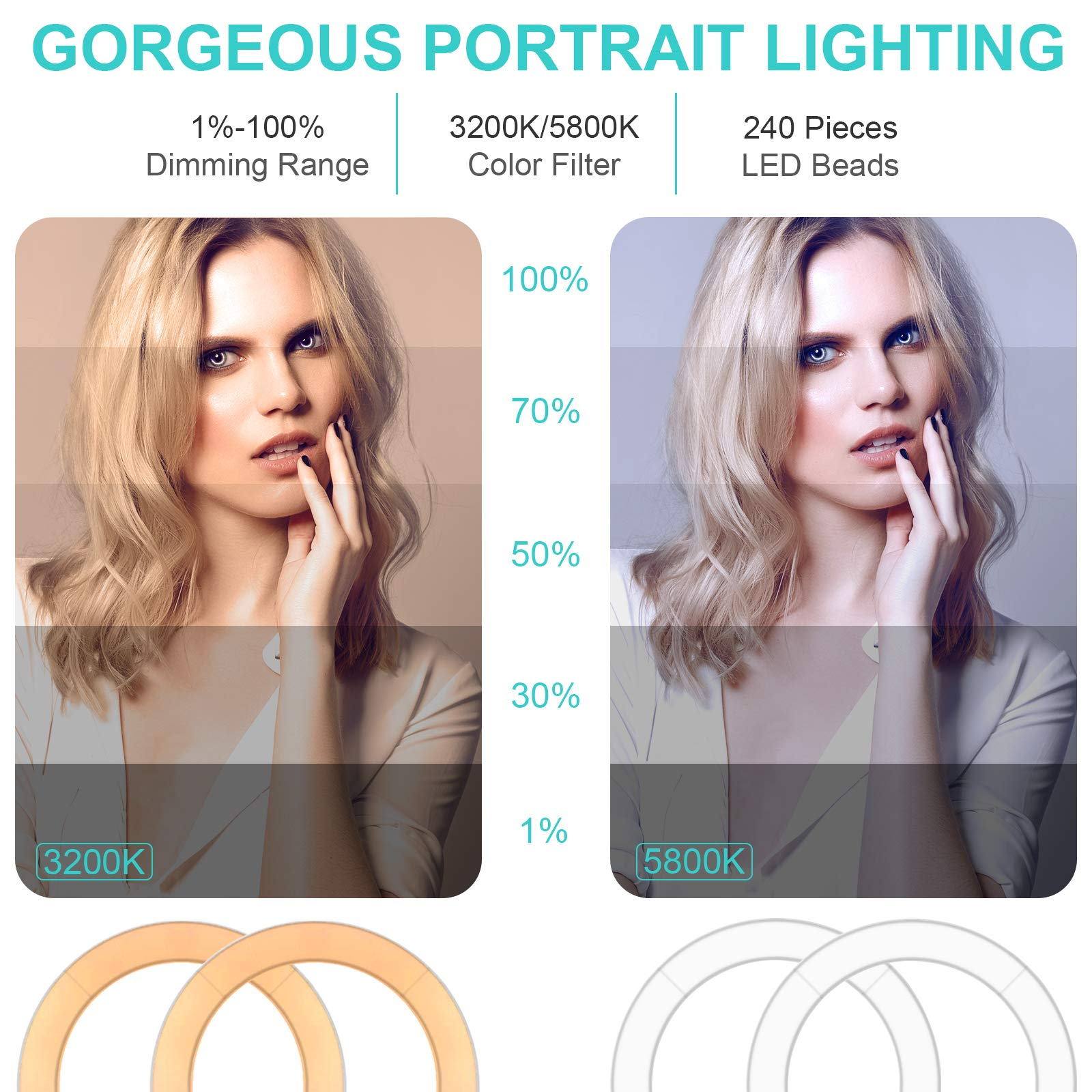 Ring Light Kit 18'' 48cm Outer 55W 5500K Dimmable Led Light Ring with Tripod Stand & Carrying Bag for Camera, Smartphone,Make-Up,YouTube,Portrait Shooting,Live Stream etc by PIXEL (Image #3)