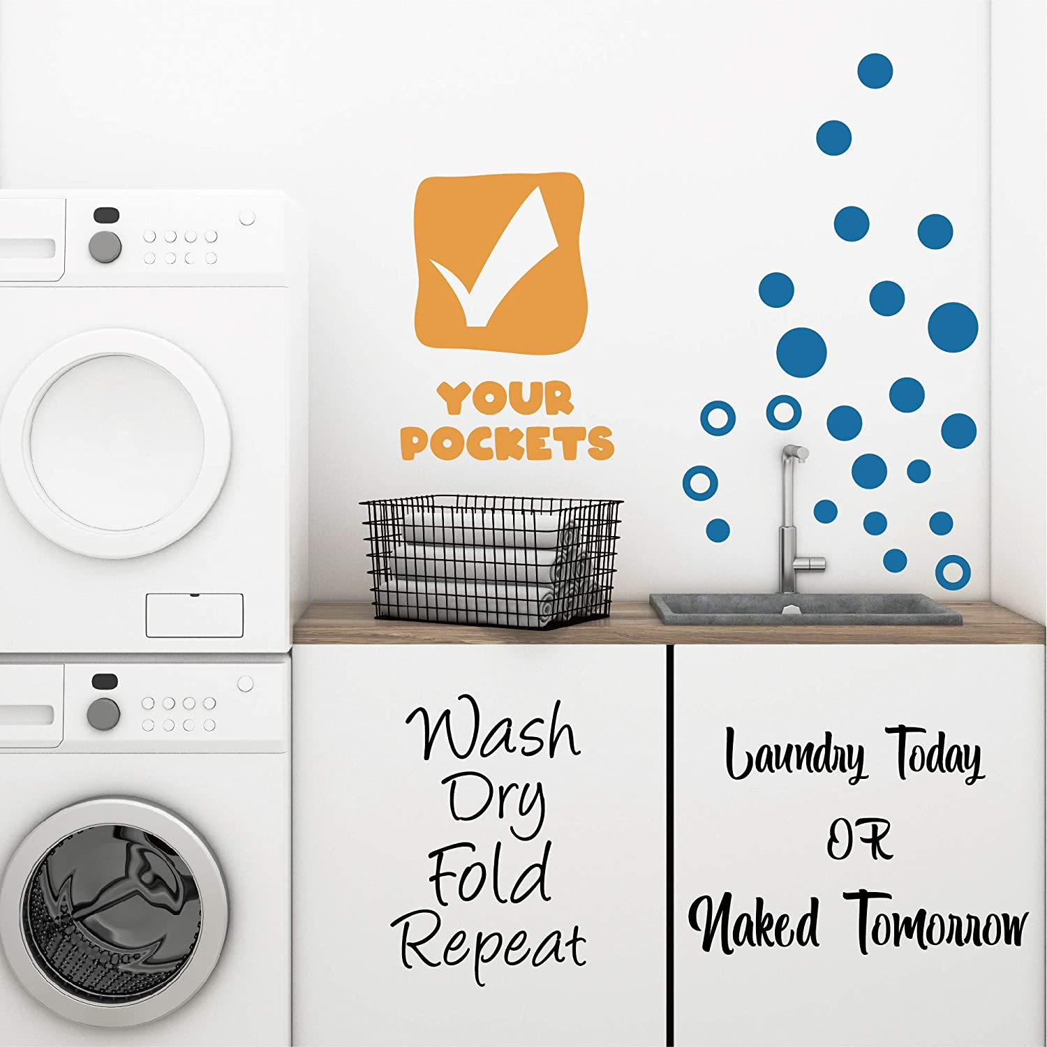 GULIGULI Laundry Today Or Naked Tomorrow-Wash Dry Fold Repeat-Check Your Pockets-Bubbles Vinyl Quotes Laundry Wall Stickers Decals-Set of 4