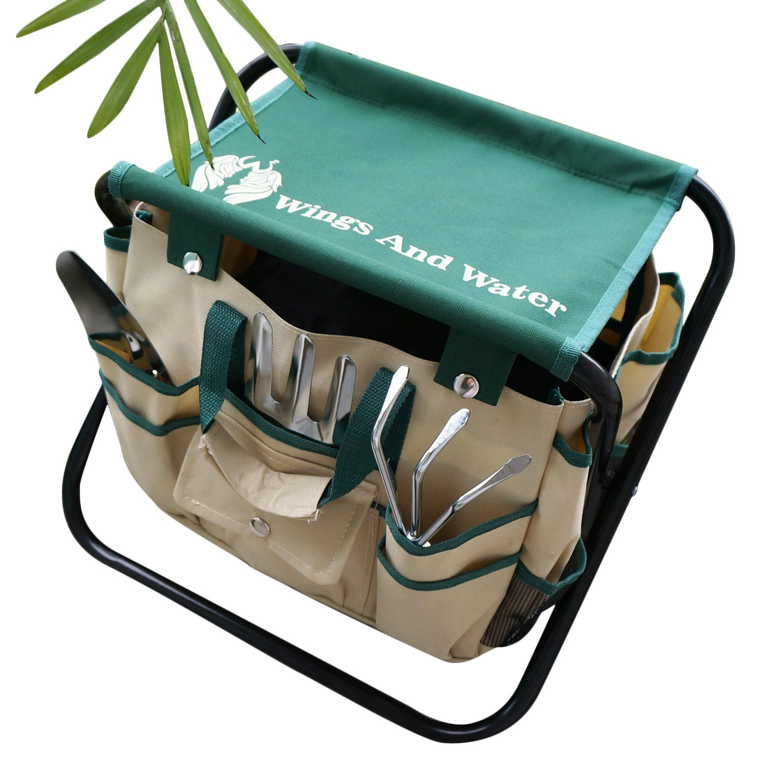 Wings and Water 7 Piece Garden Tool Set, All-In-One Tool Bag, Durable Folding Stool, Stainless Steel by Wings and Water (Image #3)