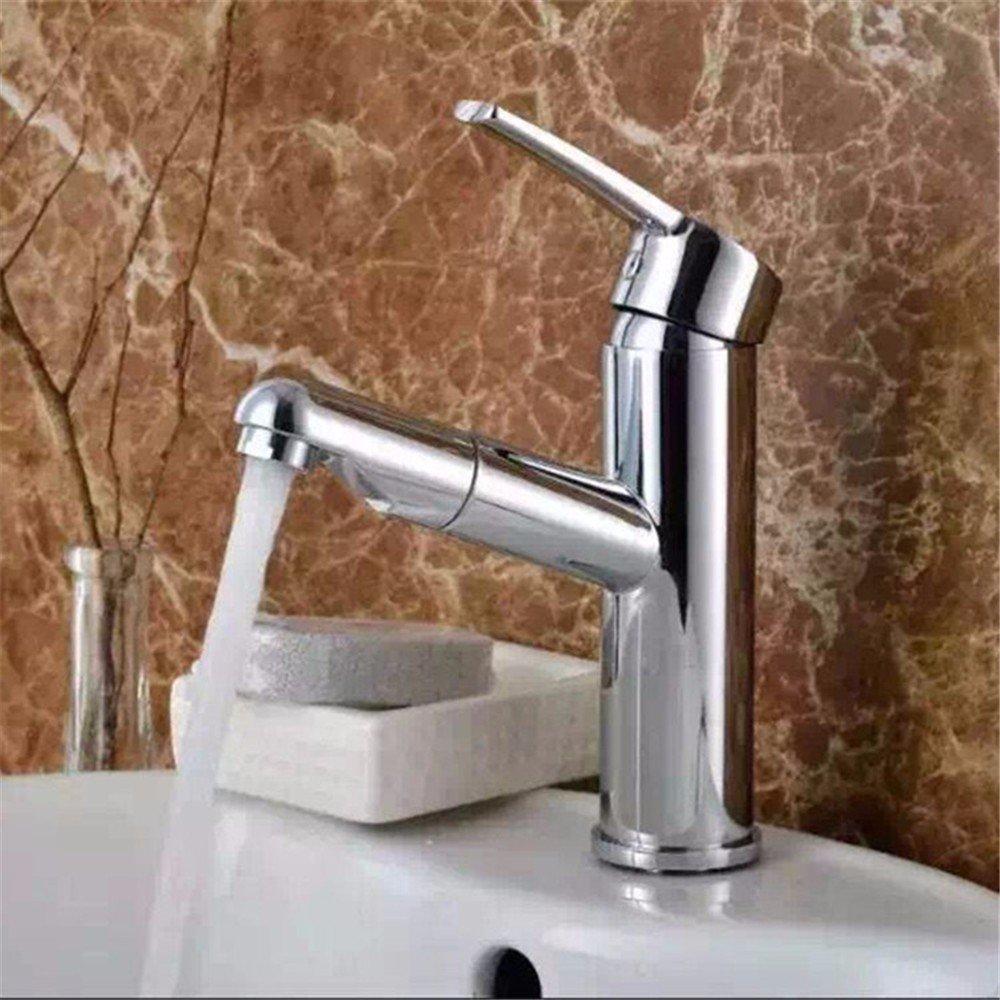 Hlluya Wasserhahn für Waschbecken Küche Küche Küche Alle Kupfer ziehen Waschbecken Wasserhahn heiß und kalt gezogen, Schminkbereich mit Shampoo Wasserhahn Waschtisch Armatur eb6779