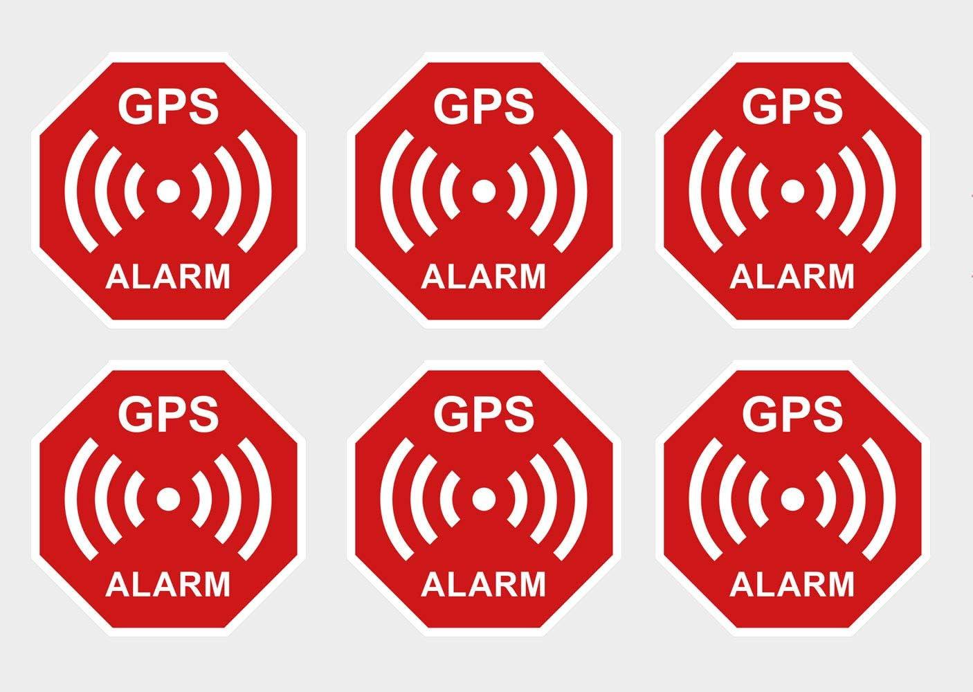 6 Stück Premium Aufkleber Gps Alarm Sicherheit Hinweis Warnung Wetterfest Uv Beständig Baumarkt