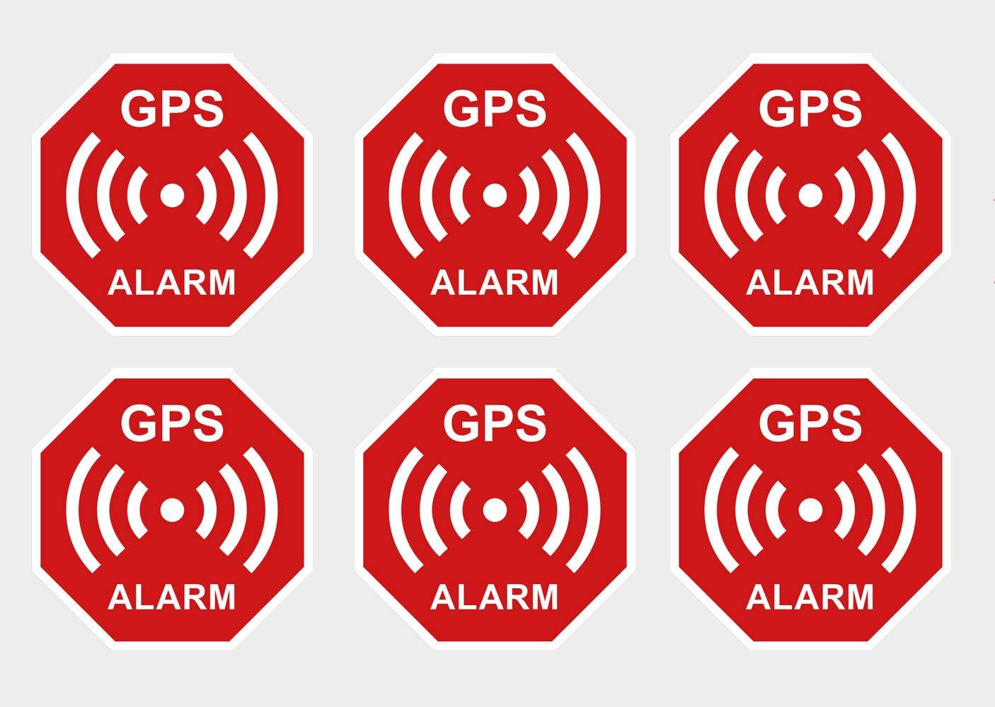 Lot de 6 Autocollants de qualit/é sup/érieure pour Alarme GPS R/ésistant aux UV R/ésistant aux intemp/éries Alerte de s/écurit/é