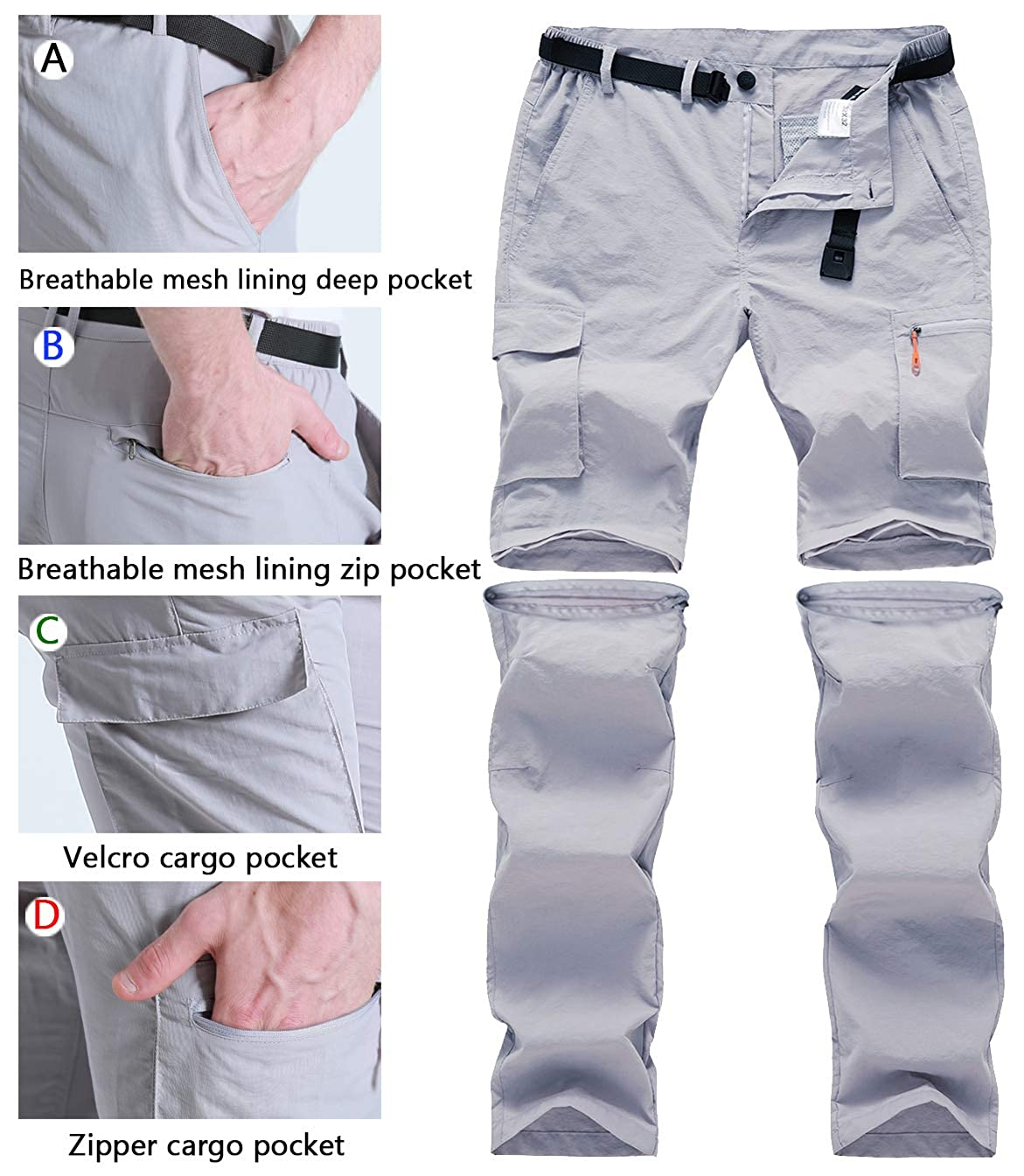 Gash Hao Outdoor Hiking Convertible Pants Mens Quick Dry Zip Off Lightweight Fishing Pants Pants