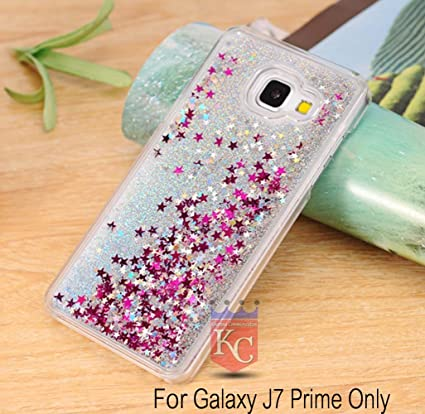 official photos ae54e a72fc KC Liquid Flowing 3D Bling Glitter Star Stylish Case Soft Transparent Back  Cover for Samsung Galaxy J7 Prime (SM-G610F) - Silver