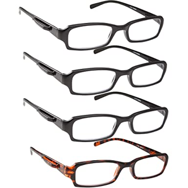 6029194a23fa Amazon.com  Reading Glasses - 4 Pack Standard Readers for Men and Women  with Pocket Clip Black and Tortoise +1.00  Clothing