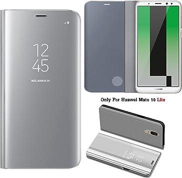 Guran® Mirror Efecto Espejo Funda para Huawei Mate 10 Lite Clear View Función de Soporte Plegable Smartphone Funda Protectora (Silver): Amazon.es: Electrónica