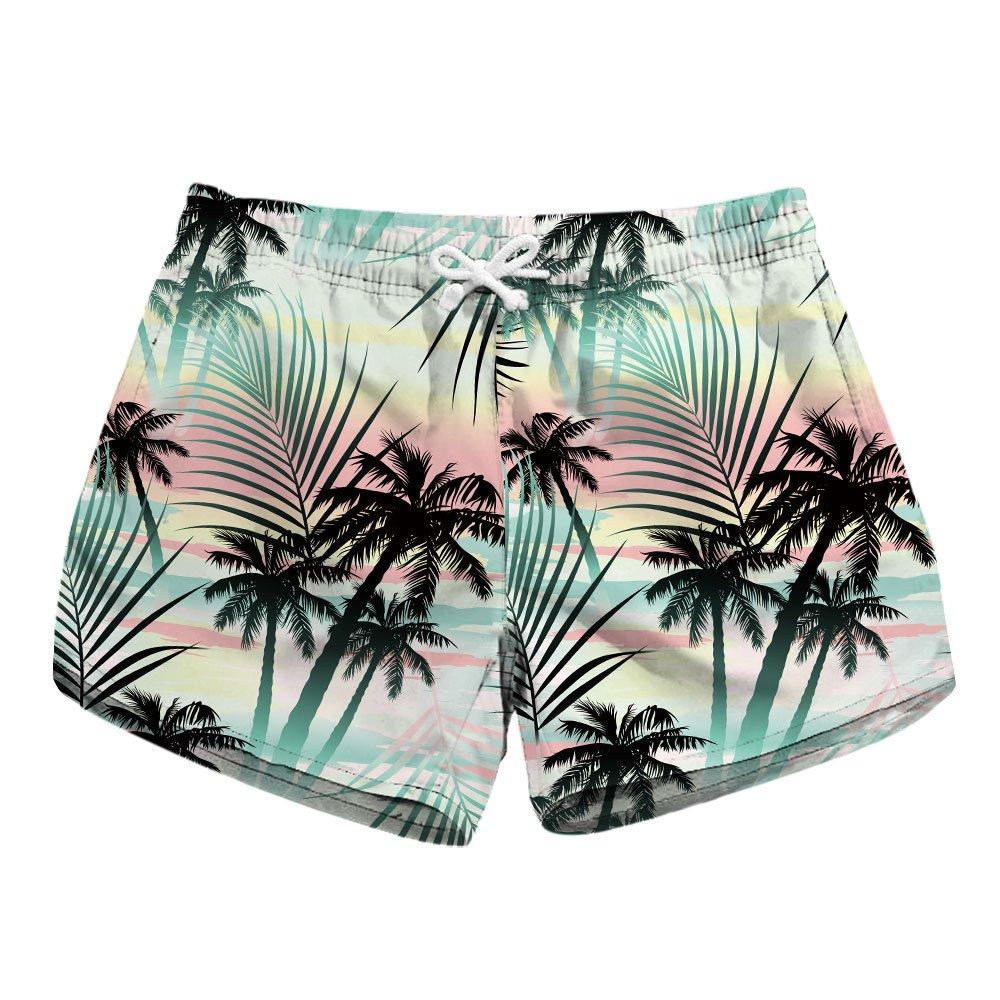 Honeystore Women's Casual Swim Trunks Quick Dry Print Boardshort Beach Shorts Coconut Tree Style B XL