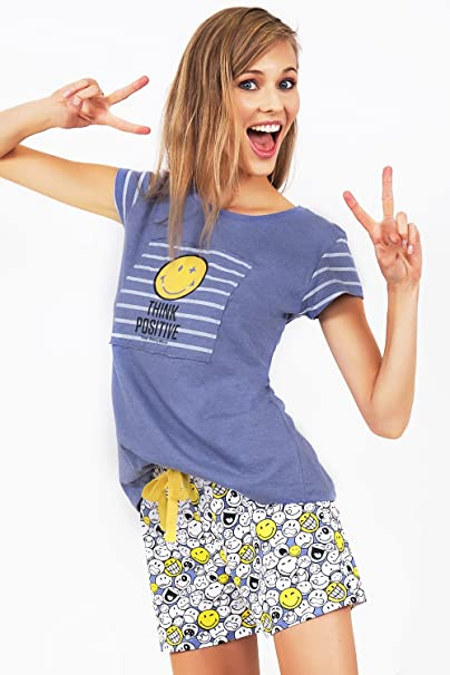 Pijama Manga Corta Mujer Smiley World, Color Azul, Talla S