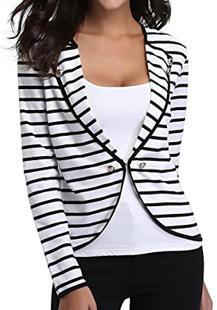 81d13818271 MISS MOLY Women s Collarless Notched Lapel Button Decor Striped Jacket  Blazer M