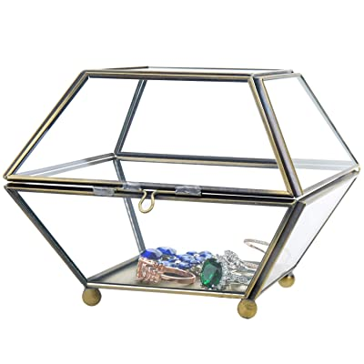 MyGift Vintage Brass & Glass Decorative Jewelry Box, Plant Terrarium Display with Lid: Home & Kitchen